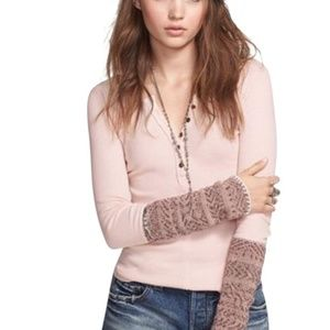 Free People Pink Waffle Thermal Alpine Sleeve